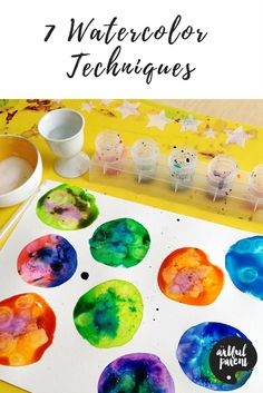 These watercolor techniques for kids are exciting and interesting alternatives to basic watercolor painting. Rubbing alcohol, salt & more!