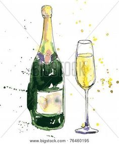 Image of Champagne Bottle Glass Drawing Watercolor Ink Hand