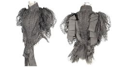c. 1892 Black Dotted Swiss Lace Spring Jacket with Passementerie Dropped Balls and Ribbons