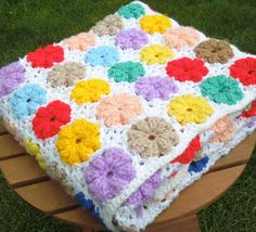 Vintage+white+crochet+afghan+throw+with+colorful+by+indiecreativ