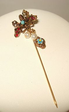 Vintage Gemstone Silver Plated Stick Pin Red and Pale Blue Stones ...