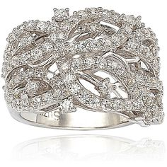 Suzy Levian Pave Cubic Zirconia Sterling Silver Pave Leaf Ring ($129) ❤ liked on Polyvore featuring jewelry, rings, silver, sterling silver band rings, cz band ring, band rings, flower rings and cocktail rings