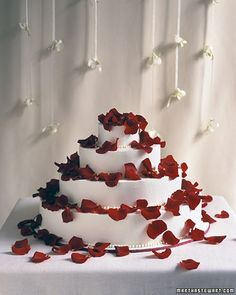 Red Wedding Cakes - Petal Shower Cake
