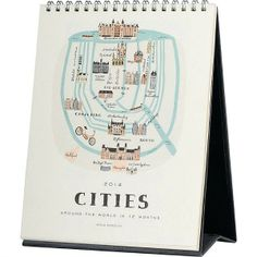 2014 Rifle Cities Desk Calendar: $16.99   Skip the hot air balloon and take a trip around the world without ever leaving your desk. Every month will be a new adventure for your travelling friend with this beautifully illustrated calendar.