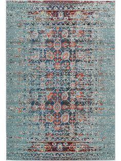 50 Euro in klein benuta Teppiche: Moderner Designer Teppich Casa Türkis 140x200 cm - Oeko-Tex Standard 100-Siegel - 100% Polypropylen - Vintage / Patchwork - Maschinengewebt - Wohnzimmer