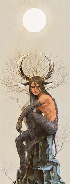 角の男, 月に佇む (fantasy art, male demon, satyr, with horns, claws)