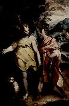 Tobias and the Angel by Raffaello Motta, Galleria Borghese, Rome. The scene depicts a bible story where Tobias meets an angel (which he does not recognize) who tells Tobias to catch a fish and use its bile to cure his father's blindness.