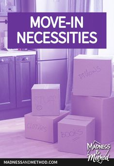 Moving soon? Check out this basic list of move-in necessities for all the quick and easy things you'll need ASAP! Moving Boxes, Washing Dishes, Nightlights, Painters Tape, Home Ownership, Hand Towels, Madness, Fun Facts, Easy