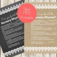 free nursery rhyme quiz baby shower game