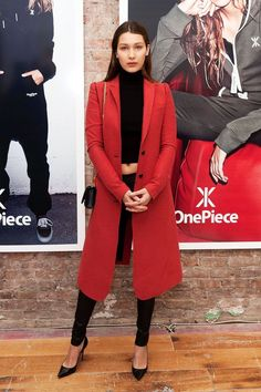 """How NYC Has Changed Bella Hadid's Style #refinery29 http://www.refinery29.com/2015/08/92316/bella-hadid-nyc-style#slide-2 OnePiece New York Concept Store Grand Opening""""I just thought that the coat was such a cool statement piece. I love doing a lot of black while having a pop of color. I'm still obsessed with that outfit; I wish I could re-wear it. I probably will.""""..."""