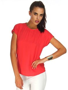 CALLIE CORAL TOP Coral Top, Affordable Fashion, V Neck, Chic, Shopping, Tops, Women, Style, Coral Blouse