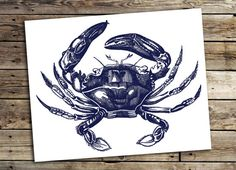 Navy blue Crab art print | Navy blue nautical wall art | nautical Printable wall art | Instant coastal art | INSTANT DOWNLOAD  Buy 2 get 1 free - coupon code FREEBIE  Vintage styled 16x20 print, fine also to print at 8x10. *Edited to include a 10x8 version*  MADE WITH LOVE ♥   ____________________________  Print as many times as you like, fine for personal and small commercial use. -------------------------------------------------------------------------------------- After payment is…
