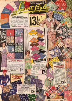 Dollface & Dapper Vintage clothes :: Sears 1934 good sample of colors and patterns from era