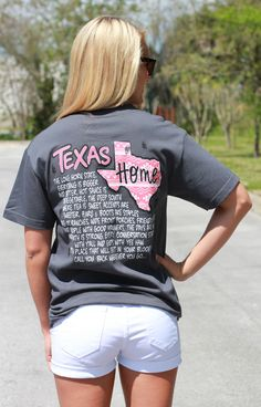 """Simply Southern is a preppy T-shirt collection. This shirt shows the pride of Texas.  Model is 5'5"""" wearing a small 100% Cotton PRESHRUNK Unisex tee. Body Width: S=18"""", M=20"""", L=22"""""""