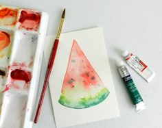 How to Paint a Watermelon with Watercolors | The Art 123