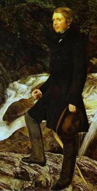 John Ruskin by John Everett Millais, 1853-54. As this image of one of the great tastemakers of his age reminds us, the Victorians did not shed or relax their clothing much if at all to go outdoors. An even better reminder of this is the bathing dress pinned to my Shell House: Women's Clothing board.