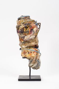 Philadelphia Wireman, Untitled (Drawing under cellophane with blue rubber band) c.1970-75, Wire, found objects, 5 x 2 x 1.5 inches