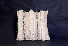 "Moroccan Handira Pillow Cushion Cover, Berber Handmade with Sequins, refashioned from a vintage Moroccan Wedding Blanket, hand crafted in Morocco's High Atlas Mountains, 16"" x 16"", CH159."