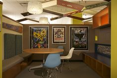 Study nooks for elementary school-agers at the Fountaindale Public Library Children's Library with Dragon Tree Canopy above © Architecture Is Fun