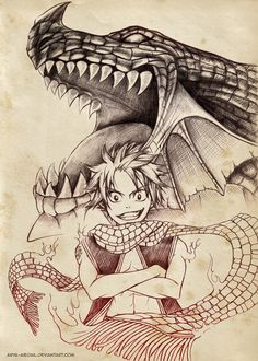 #Natsu  #Igneel - Fairy Tail - Welcome to the Year of the Dragon Slayer by Arya-Aiedail on deviantART