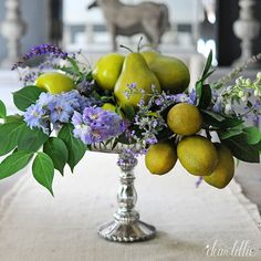 Dressing up Faux Pears with flowers and fresh lemons