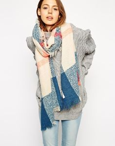 ASOS Check Scarf In Blue Boucle