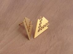 Triangle Stud Earrings 1 Pair 2 Pcs Gold Geometric Earrings Post Earrings Findings Geometric Earrings Exclusive at Goldie Supplies (6.49 USD) by GoldieSupplies