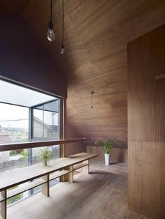 The light fixtures make this place that much cooler! The wood is awesome!  // Ogaki house by Katsutoshi Sasaki