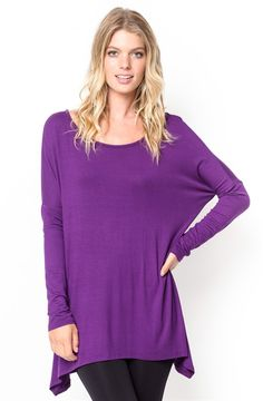 Add a little twist to your everyday tee with this Asymmetrical hemline Tunic Tee. Get ready for full on sunny season with this easy and versatile piece. With a plenty long hem and uncomplicated easy look, enjoy this piece in 8 soft colors!Available in 8 Colors:BlackBurgundyMochaHeather GreyPurpleNavyOliveCharcoalThis garment runs true to size: Small (0-4), Medium (6-8), Large (10-12), X-Large (14-16). Model is wearing a size Small.96% Rayon, 4% Spandex. Made in USA.Hand Was...