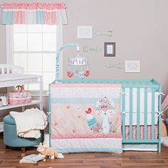 New Trend Lab Wild Forever Baby Nursery Crib Bedding Set. Quilt: 35 in x 45 in Sheet: Fits Standard Crib Mattress 28 in x 52 in Skirt: Fits Standard Crib 28 in x 52 in x 13 in. Add the finishing touch to your nursery with Wild Forever Window Valance. Girl Crib Bedding Sets, Crib Sets, Bed Sets, Nursery Bedding, Girl Nursery, Teal Bedding, Comforter Sets, Fox Nursery, Babies Nursery