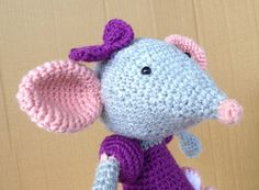Large crochet ballet mouse, stuffed toy, handmade, pink purple, gift for girl This item was created in a smoke- and pet-free environment. Materials: acrylic yarn, polyfill stuffing.