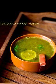 lemon coriander rasam recipe - spicy, tangy rasam made with lemon juice and coriander leaves. #rasam