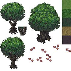 Tree Pixel Art rpg maker | Pixel Art / [WIP] Forest Tileset