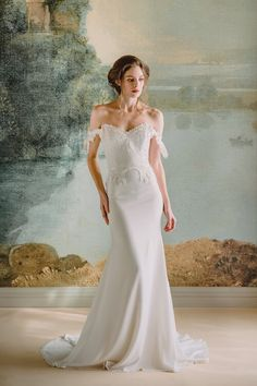 Look like a one-of-a-kind bride in the Arabella gown by Claire Pettibone. It is wearable art, from the off-the-shoulder sleeves to the flowing crepe skirt. Claire Pettibone, Mon Cheri Wedding Dresses, 2015 Wedding Dresses, Bridal Dresses, Gown Wedding, Wedding Dj, Garden Wedding, Rustic Wedding, Bridal Collection