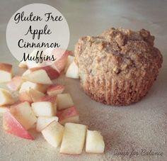 Gluten free apple cinnamon muffins. Healthy breakfast or snack option. Refined sugar free.