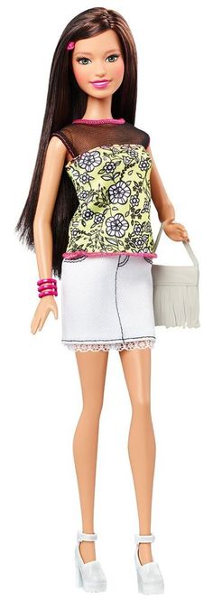 NEW! 2015 Barbie Fashionistas Teresa Latina Doll Floral Top White Skirt NIB