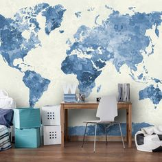 Watercolor World Map In Blue Wall Mural, Watercolor World Map in Sades of Blue Wallpaper, Wall décor, Wall decal, Nursery Wallpaper - Quarto interior World Map Mural, World Map Wallpaper, Nursery Wallpaper, World Map Tapestry, Wallpaper Murals, Travel Wallpaper, Wallpaper Ideas, Art Mural Photo, Watercolor World Map