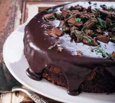 This moist Chocolate Cake that's egg free too! Add colour to this bake and sprinkle with Peppermint Crisp.
