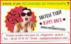 """A partager sans modération !  Envie d'un RELOOKING de Printemps ?  Profitez du """"Tarif Happy Hour"""" (du lundi au vendredi) chez NANA PAR-CI NANA PAR-LÀ.  (offre valable du 20/03/12 au 21/06/12)  http://nanaparci.com/coach_relooking_paris/relooking_paris_image_particuliers.html  contact : nadege@nanaparci.com"""