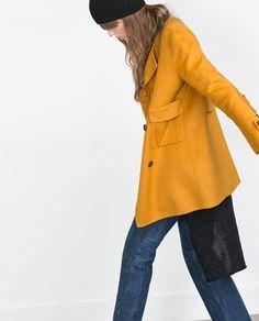 Hand made coat in mustard from Zara