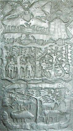 Untitled (1970s) by Nigerian artist Asiru Olatunde (1918-1993). Aluminum, 92 x 51 cm. via Galerie Afrikanische Kunst