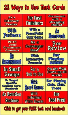 21 Ways to Use Task Cards. Click through to get your free task card handbook.
