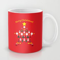 FLAT CHRISTMAS series -CHRISTMAS STAR_R Mug by SEOL.D - $15.00