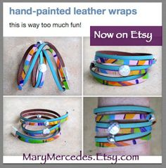 Hand-painted Leather Whirly WRap bracelet. Original, wearable folk art. Hand dyed Leather Wrap Bracelet in Confetti Colored Leather with silver accents https://www.etsy.com/listing/182680598/hand-dyed-leather-wrap-bracelet-in?