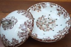 Antique Ironstone 3 Piece Covered Soap Dish with Insert / Made in England / Brown Transferware / Copeland
