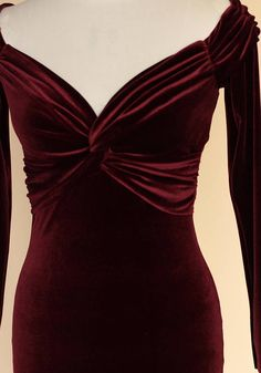 Cocktail velvet dress in burgundy with a flattering bardot neckline, long sleeves, twisted waistline, and pencil skirt . The Dress, Dress Skirt, Multi Way Dress, Mid Length Dresses, Special Occasion Dresses, Designer Dresses, Beautiful Dresses, Evening Dresses, Party Dress