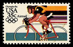 This 1984 stamp honors Olympic cycling.