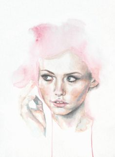 cotton candy - Terese B. Larsen  @tereseblarsen #watercolor