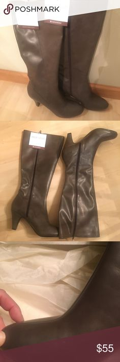 Naturalizer wide shaft boots (new) size 9 Color: Taupe Side zip N5 comfort  Right boot has a few indents (see 3rd photo)  Lovely boots! Naturalizer Shoes