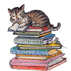 Cat Reading a Book | Cat and mouse reading on stack of books